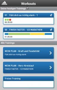 adidas Train and Run App Trainingsplan