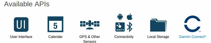 Garmin Connect IQ APIs