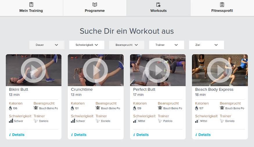 Gymondo Workout Filterfunktion