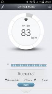 Pulsense View App Echtzeit Pulswerte
