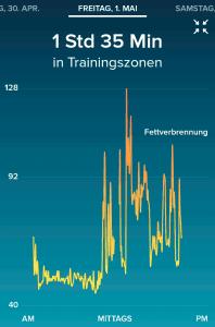 Fitbit Surge beim Wandern - Puls in der App