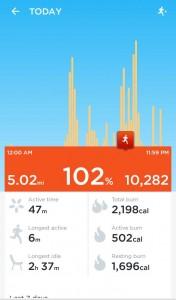 Jawbone UP App - Tagesübersicht