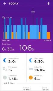Jawbone UP App - Schlafübersicht