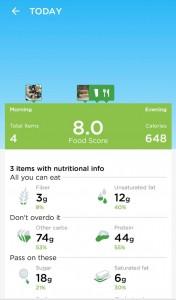 Jawbone UP App - Ernährungsübersicht