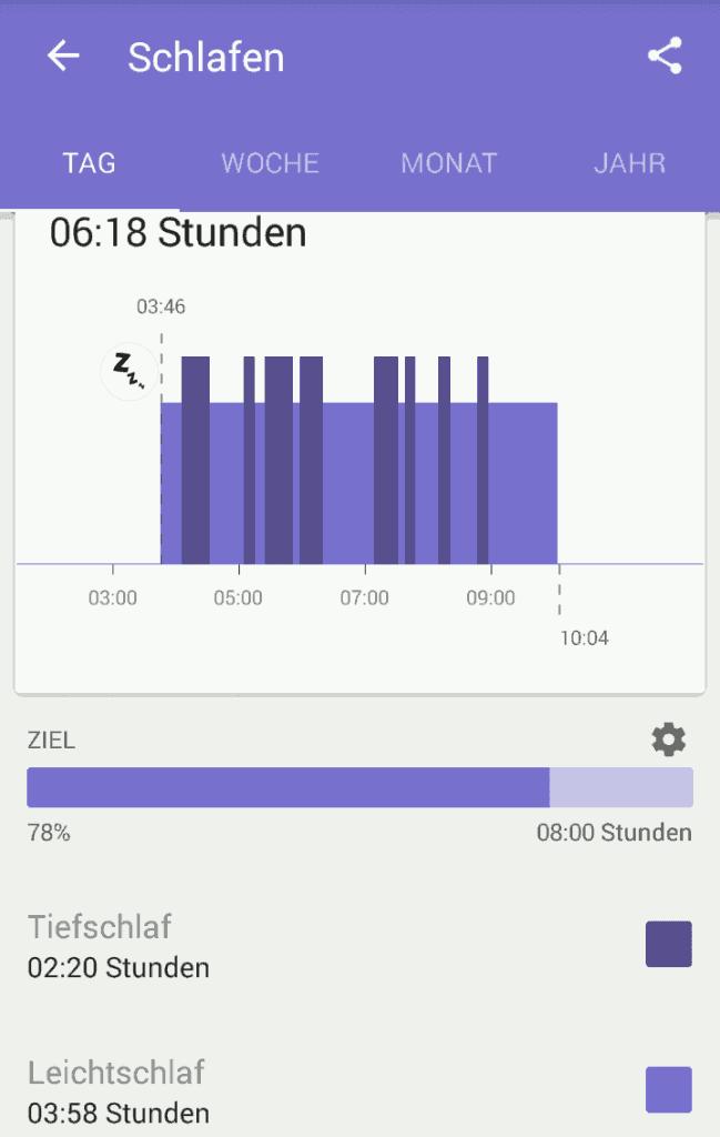 Sony Lifelog App - Schlaf Tagesansicht