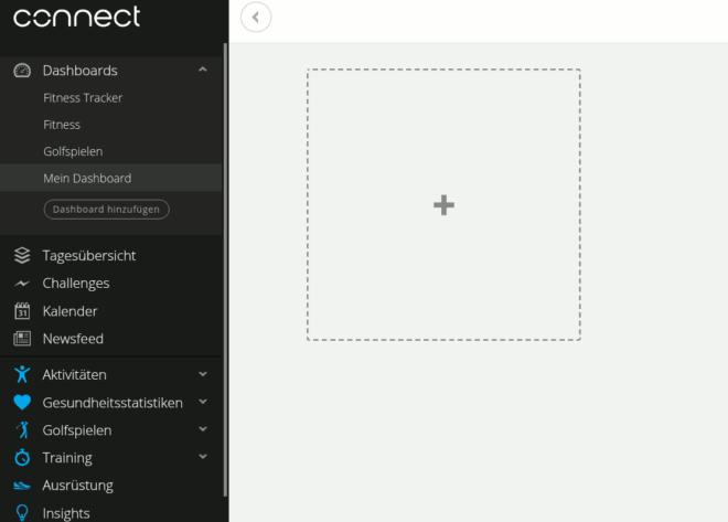 Garmin Connect - Dashboard hinzufuegen