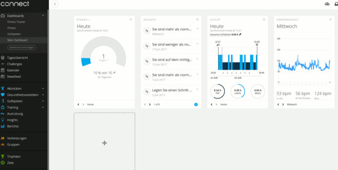 Garmin Connect - Dashboard konfigurieren