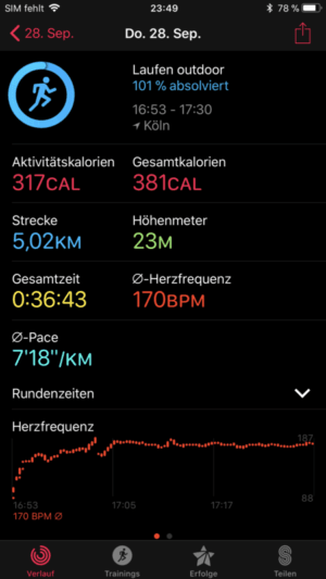 Apple Watch 3 Fitnessdaten