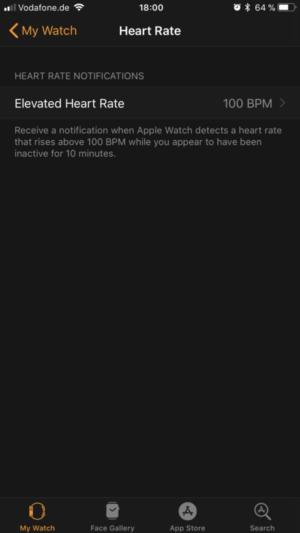 Apple Watch App: Hinweis bei zu hohem Puls aktivieren