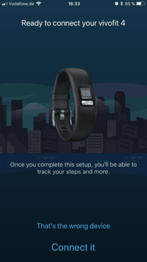 Garmin Vivofit 4 Connect Kopplung