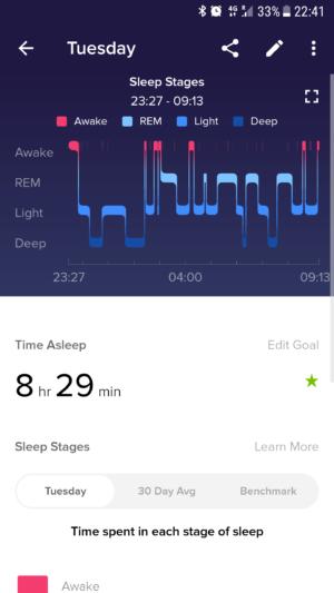 Fitbit Versa Schlafdetails