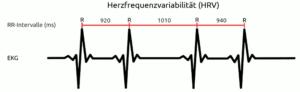 Herzfrequenzvariabilität (HRV) und RR-Intervalle (schematische Darstellnug)