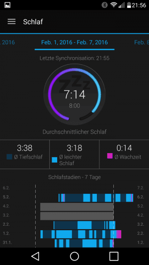Connect Schlafdaten 7 Tage